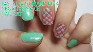 Pastel Green and Pink Negative Space Nail Art - YouTube