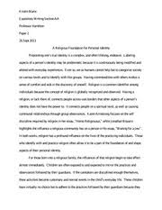 homo religious essay final kristin marie professor regina  7 pages a religious foundation for personal identity