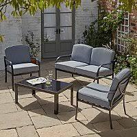 Haversham <b>4 Piece Garden</b> Sofa Set - Charcoal | Outdoor & Garden ...