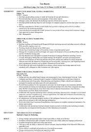 Director Global Marketing Resume Samples Velvet Jobs