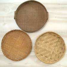 extra large wicker baskets. Contemporary Large Large Round Wicker Basket Wood Flat Woven Rattan Tray  With Handles Brown   For Extra Large Wicker Baskets E