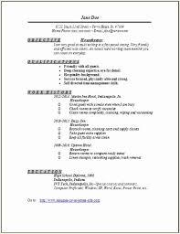 housekeeping resume templates sample resume for housekeeping job in hotel inspirational