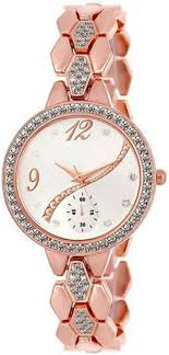 Designer Diamond Watches Renisales Rose Gold Designer Diamond Studded Chronograph Pattent Dial Watch For Women Watch For Girls