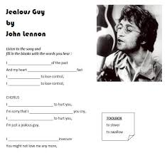 Many genres of music are featured below, including rock, pop, folk, metal, and more. Song Worksheet Jealous Guy By John Lennon