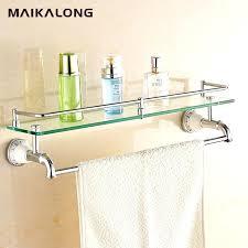 stylish glass bathroom shelf with towel bar northlightco bathroom glass shelves with towel bar designs