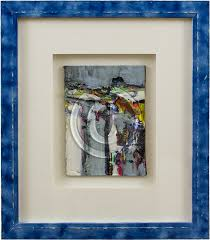 image of abstract oil painting in mat blue frame