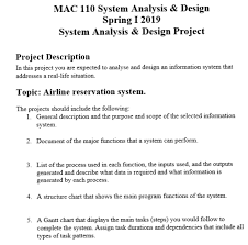 Mac 110 System Analysis Design Spring I2019 Syst