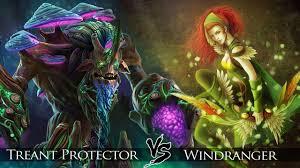 dota 2 windranger vs treant protector one click battle youtube