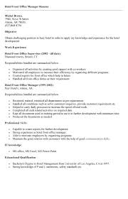 hotel management resume