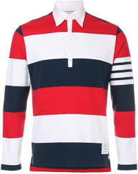 thom browne rugby stripe relaxed fit long sleeve polo