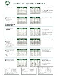 Printable School Year Calendars 18 19 Academic Year Calendar Greenfield Public Schools