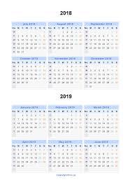 Printable Calendars 2019 New Split Year Calendars 2018 2019 Calendar ...