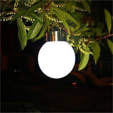 stainless steel led solar round ball hanging lamp garden decoration outdoor solar chandelier camping light