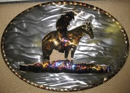 end of trail cowboy running horse in oval metal art on cowboy metal wall art with western prints metal wall arts gifts for sale