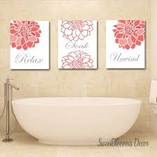Or perhaps bring bathroom art to the walls by featuring the inherent theme of any bathroom, water. Coral Bathroom Decor Coral Gray Bathroom Wall Art Coral Gray Floral Wa Sweet Blooms Decor