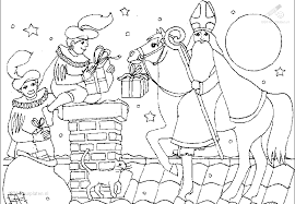 Kleurplaat Sinterklaas Sint Kleurplaat Sint Op De Schimmel