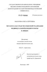 Диссертация на тему Метафора как средство языковой реализации  Диссертация и автореферат на тему Метафора как средство языковой реализации индивидуальной концептосферы Ф Ницше