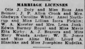 Marriage License of J.P. Alton Crook and Gladwyn White - Newspapers.com