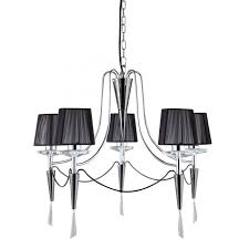 ss chrome 5 light fitting with black string shades crystal sconces