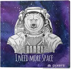 Obraz Zvíře Astronaut Lední Medvěd Nosit Prostor Oblek Galaxie Prostor Pozadí S Hvězdami A Mlhovina Akvarel Galaxie Pozadí Na Plátně