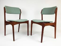 pair of danish mid century modern teak dining side chairs by erik buch buck