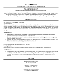 Preschool Teacher Assistant Sample Resume Preschool Teacher