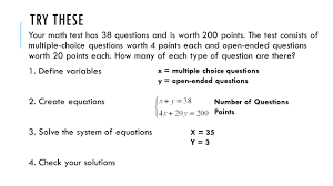 your math test has 38 questions and is worth 200 points