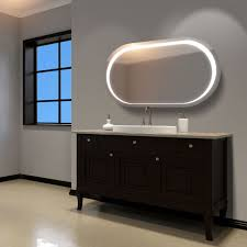 homcom led bathroom mirror wall mounted illuminated sensor wide