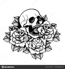 роуз тату с черепом традиционная черная точка стиль чернила