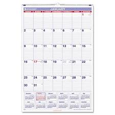 At A Glance Monthly Wall Calendar With Ruled Daily Blocks 20 X 30