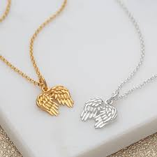 sterling silver and gold plated angel wings necklace by lily charmed