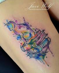 Javi Wolf Watercolor Cat And Books Tattoo Tetování Tetování