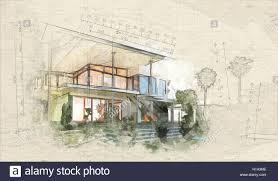 Villa Sketch Design Tropical Modern Design Villa View With Garden And Palm Trees