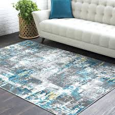 turquoise and gray area rug distressed abstract teal grey florida