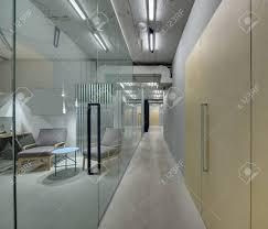office corridor door glass. Luminous Corridor In The Office A Loft Style. On Left There Are Rooms Door Glass