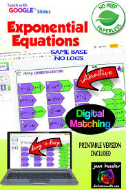 exponential equations matching with