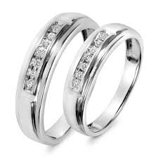 1 8 Carat T W Diamond His And Hers Wedding Band Set 14k White Gold Cheap Matching Wedding Bands His And Hers