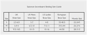 Salomon Board Size Chart 78 Rigorous Salomon Binding Size Chart
