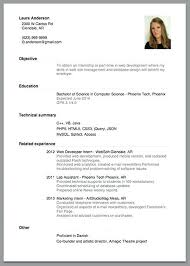 Sample Resume For Internship In Computer Science