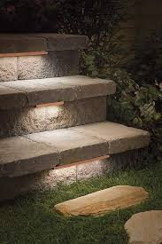 outdoor stairway lighting. Low-profile Contemporary Stair Lighting Under Treads Of Outdoor Stone Steps Stairway