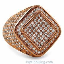 rose gold micro pave bling bling ring