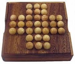 Wooden Solitaire Game With Marbles Solitaire Marble Wooden Brain Teaser Game 28
