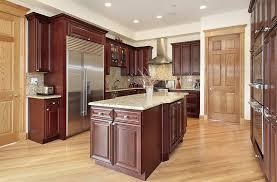 kitchen with cherry cabinets and white granite counter