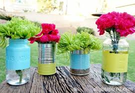 Recycled Can and Mason Jar Centerpiece g