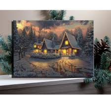 Winter Pictures With Led Lights 6pcs Led Lights Illuminart Village Cottages In Winter Snowy