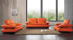 Orange Couch Living Room 410 Leather Sofa Set For Living Rooms