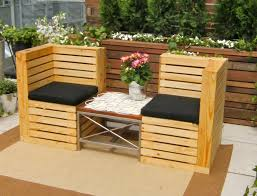 Appealing How to Make Pallet Patio Furniture Final Work with Cozy Chairs and Suare Table on Cream Carpet