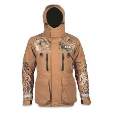 Striker Ice Mens Climate Insulated Waterproof Ice Fishing Jacket With Sureflote Brown Camo