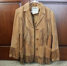 vintage leather fringe coat womens pioneer wear hippie jacket 1970s trapper style