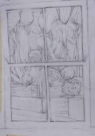 window pencil drawing. tagged clouds, conservation conflicts, cove park, drawing, environment, interiors, landscape, penrhiw, sera james irvine, sky, trees window pencil drawing